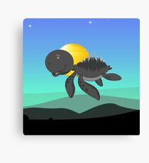 Blue Sky Flying Turtle Canvas Print