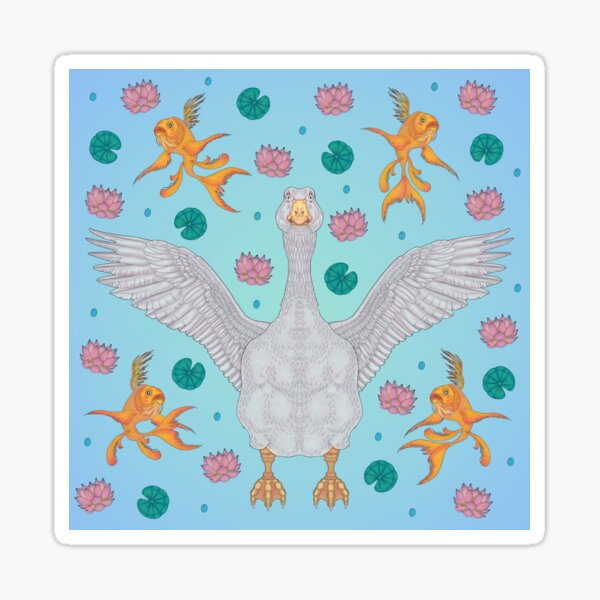 White Goose: Front View Sticker