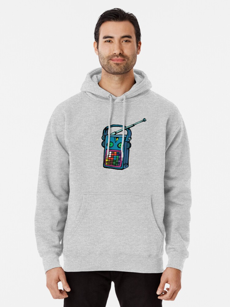 Alternate view of transistor with eyes Pullover Hoodie