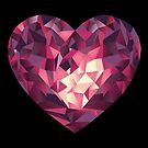 Großer Herz Edelstein in rot, lila.  von Christine Krahl