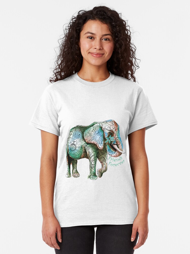 Alternate view of Kristins Flower of Friendship Elephant (green) Classic T-Shirt