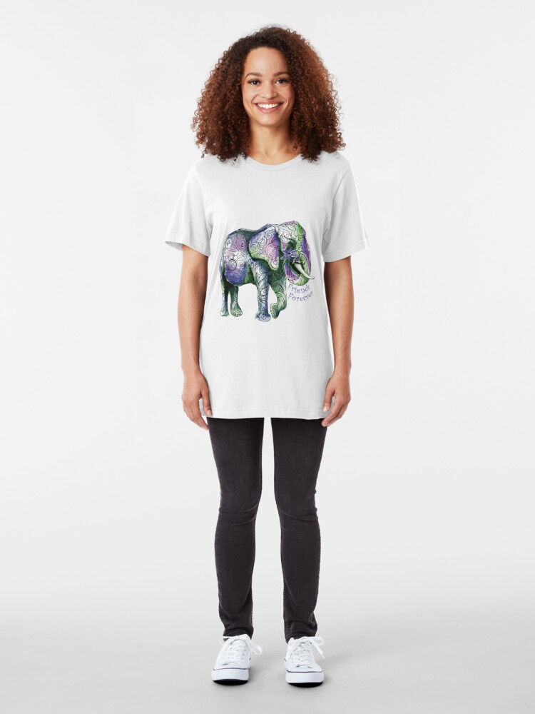 Alternate view of Kristins Flower of Friendship Elephant (purple) Slim Fit T-Shirt