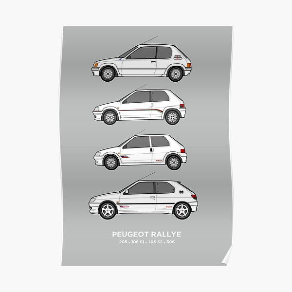 Peugeot 205, 106, 306 Rallye Classic Car Collection Collection. Poster