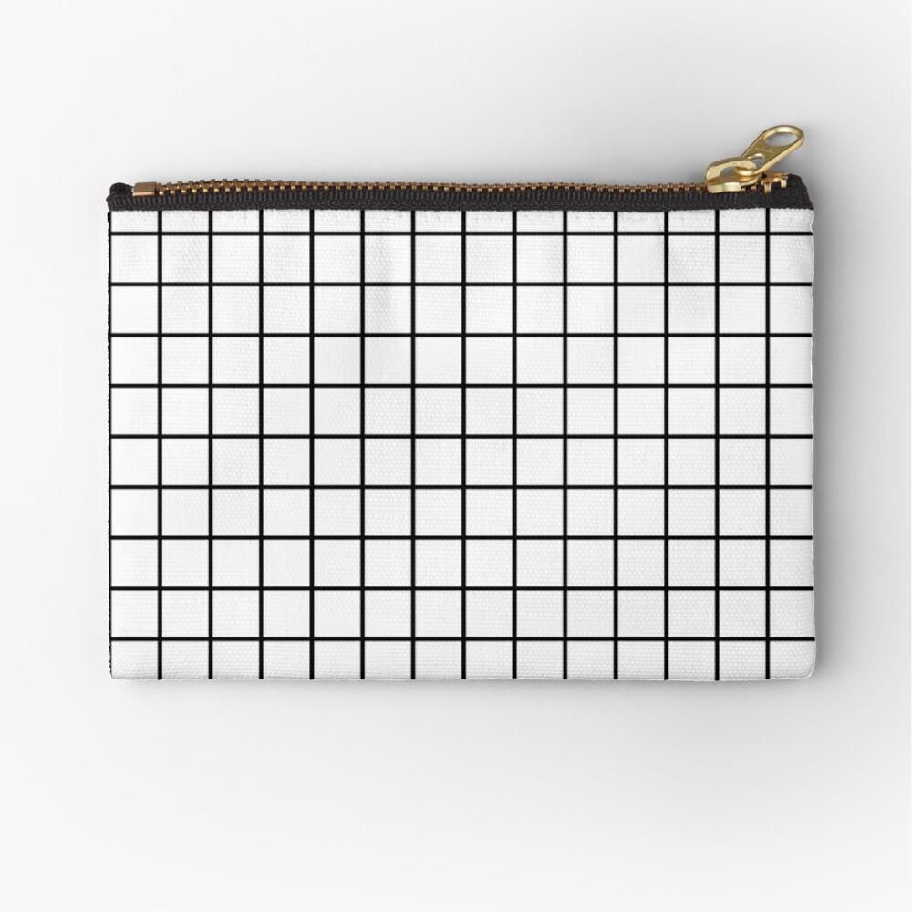 Emmy -- Black and White Grid, black and white, grid, monochrome, minimal grid design cell phone case Zipper Pouch