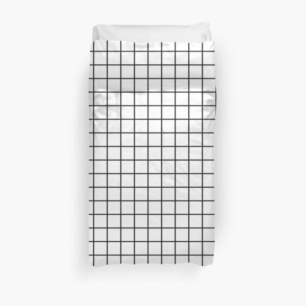 Emmy -- Black and White Grid, black and white, grid, monochrome, minimal grid design cell phone case Duvet Cover
