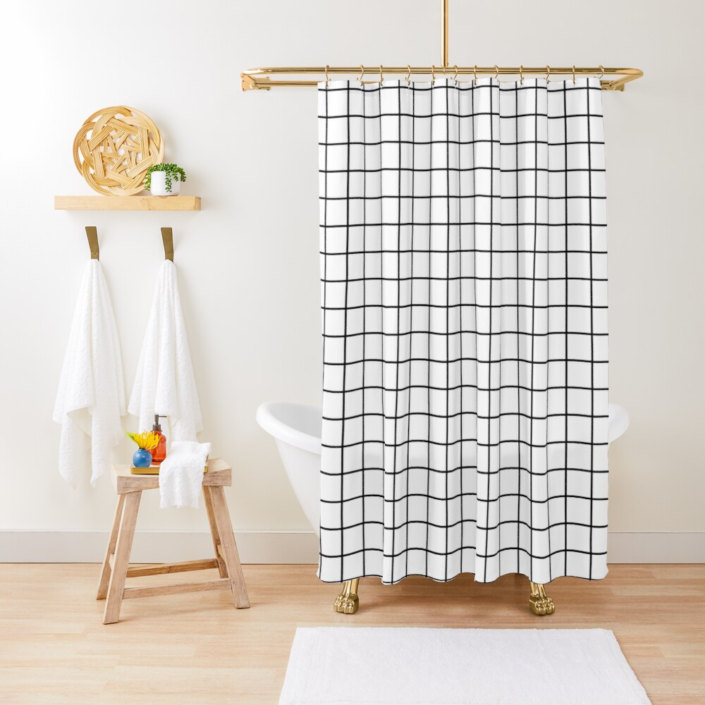 Emmy -- Black and White Grid, black and white, grid, monochrome, minimal grid design cell phone case Shower Curtain