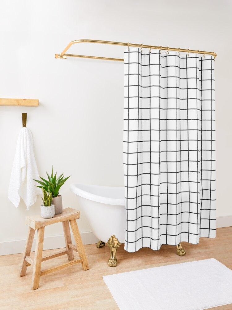 Alternate view of Emmy -- Black and White Grid, black and white, grid, monochrome, minimal grid design cell phone case Shower Curtain