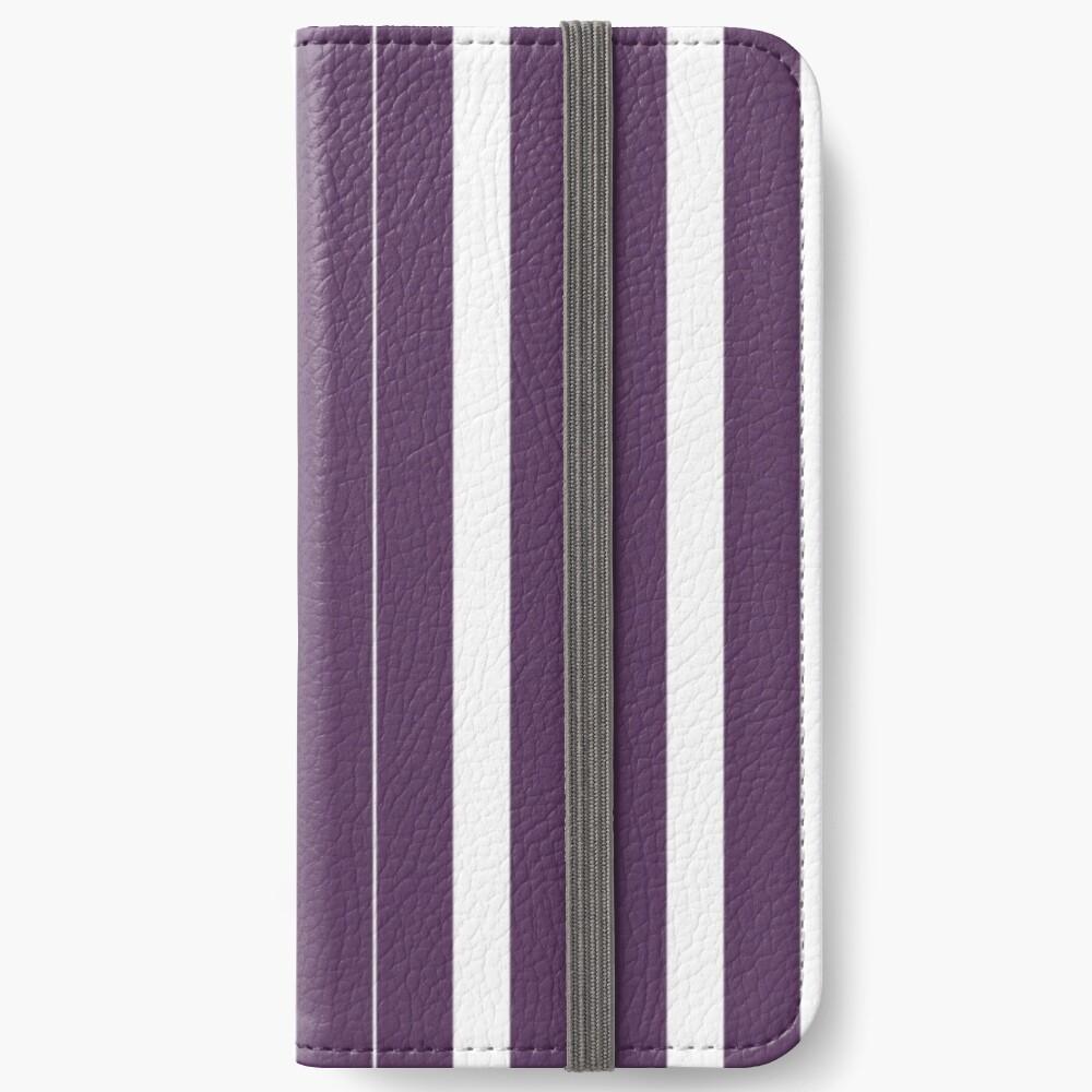 Rayas púrpuras y blancas Fundas tarjetero para iPhone
