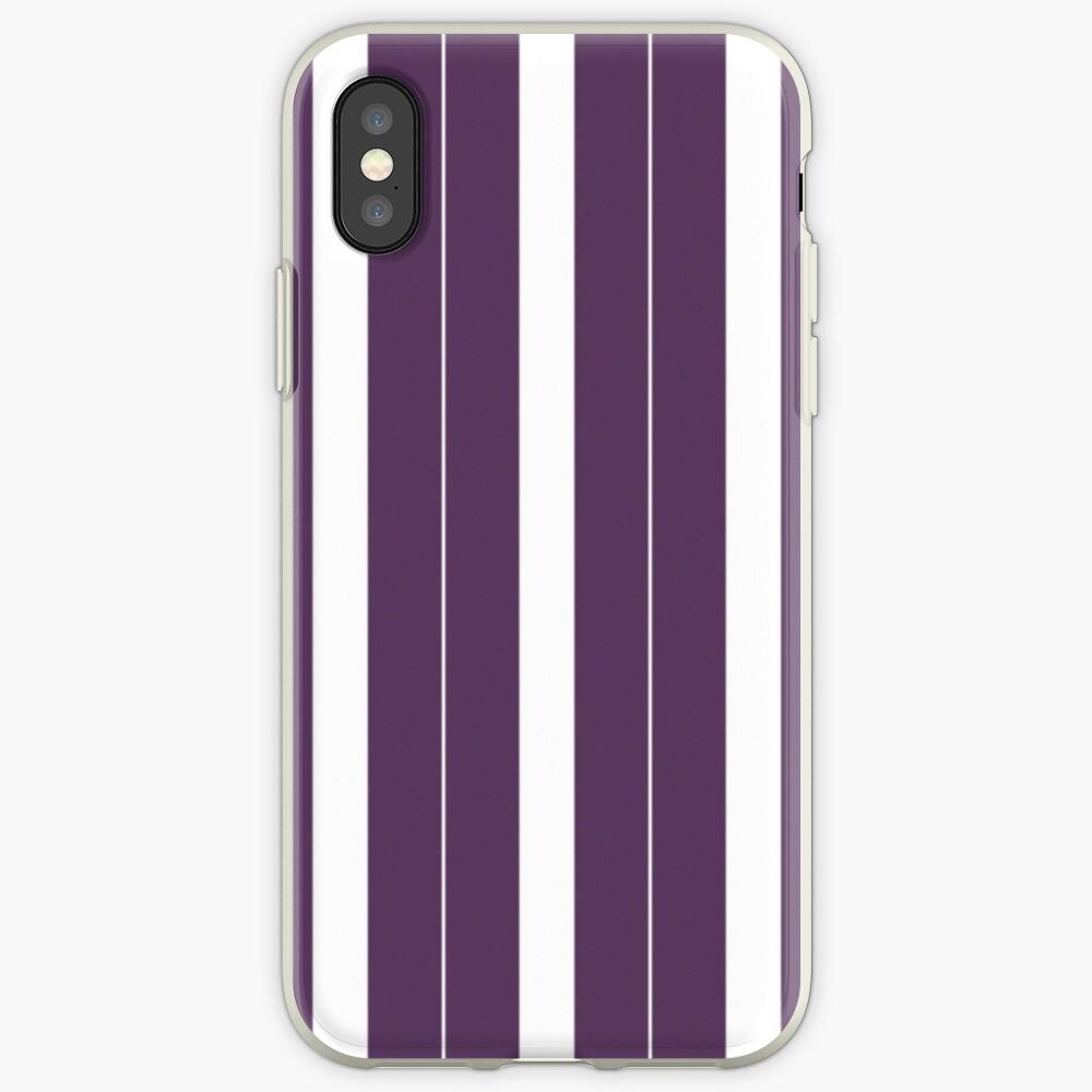 Rayas púrpuras y blancas Funda y vinilo para iPhone