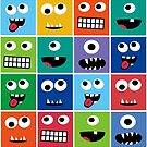 Silly Monster Face Kids Pattern by SamAnnDesigns