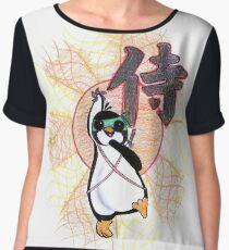 Ninja Samurai Penguin Eeaster Warrior Art Design Chiffon Top