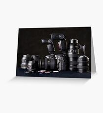 Set of photographs. DSLR camera, lens and flash Greeting Card