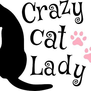 Diseño de señora loca gato con silueta negra y huellas de pata rosa de Mhea