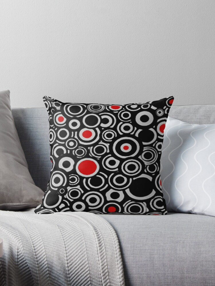 BLACK AND RED AND WHITE  GREY MULTI CIRCLES RETRO DESIGN  by ozcushionstoo