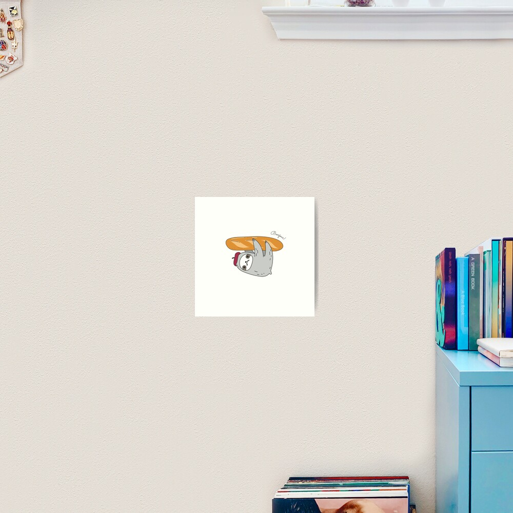 French sloth with baguette Art Print