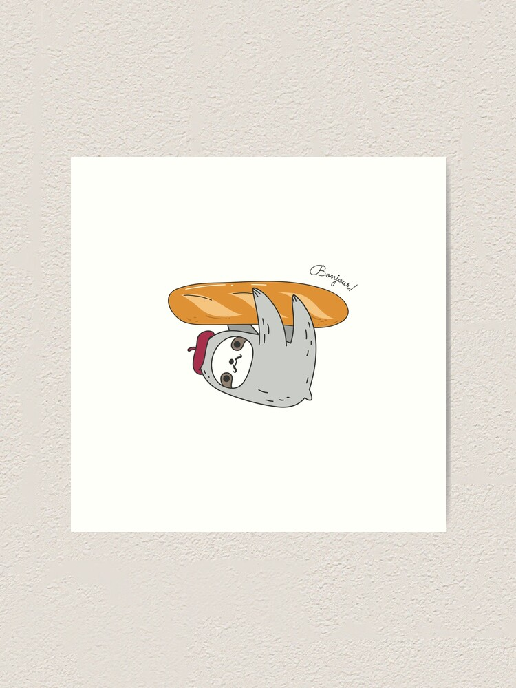 Alternate view of French sloth with baguette Art Print