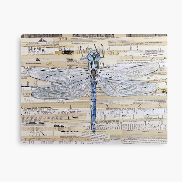 Blue Dragonfly Collage by C.E. White Metal Print