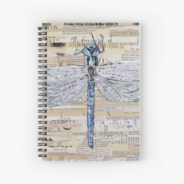 Blue Dragonfly Collage by C.E. White Spiral Notebook