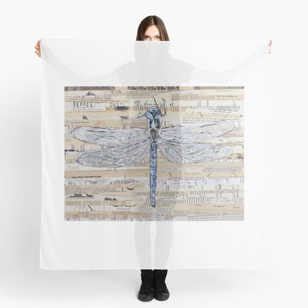 Blue Dragonfly Collage by C.E. White Scarf