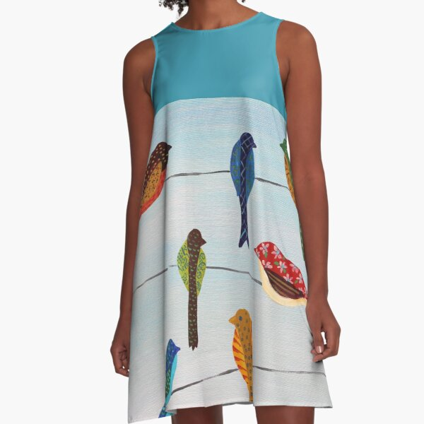 Lovely Colorful Birds On Wires  A-Line Dress