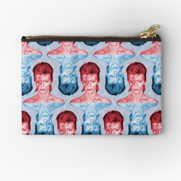 Red & Blue David Bowie by Cupcakes and Chopsticks Zipper Pouch