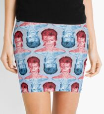 Red & Blue David Bowie by Cupcakes and Chopsticks Mini Skirt