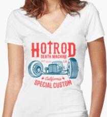 Hot Rod Death Machine Tailliertes T-Shirt mit V-Ausschnitt