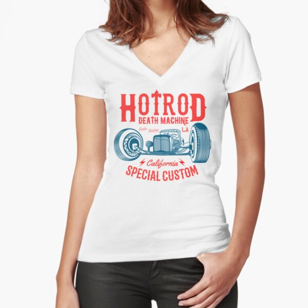 Hot Rod Death Machine Fitted V-Neck T-Shirt