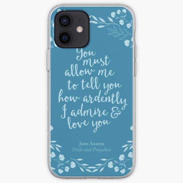 Jane Austen Pride and Prejudice Floral Love Quote iPhone Soft Case