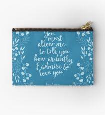 Jane Austen Pride and Prejudice Floral Love Quote Studio Pouch