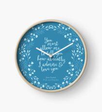 Jane Austen Pride and Prejudice Floral Love Quote Clock