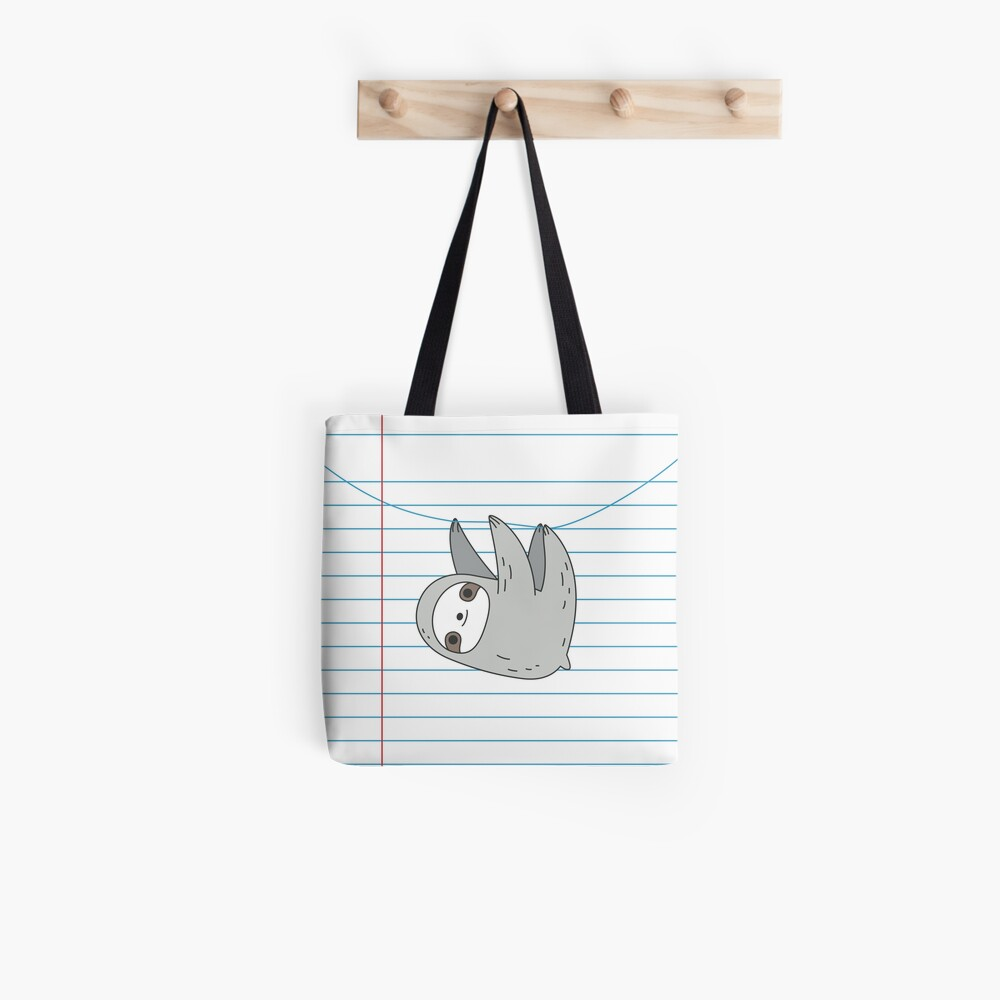 Sloth hanging on a notebook page Tote Bag