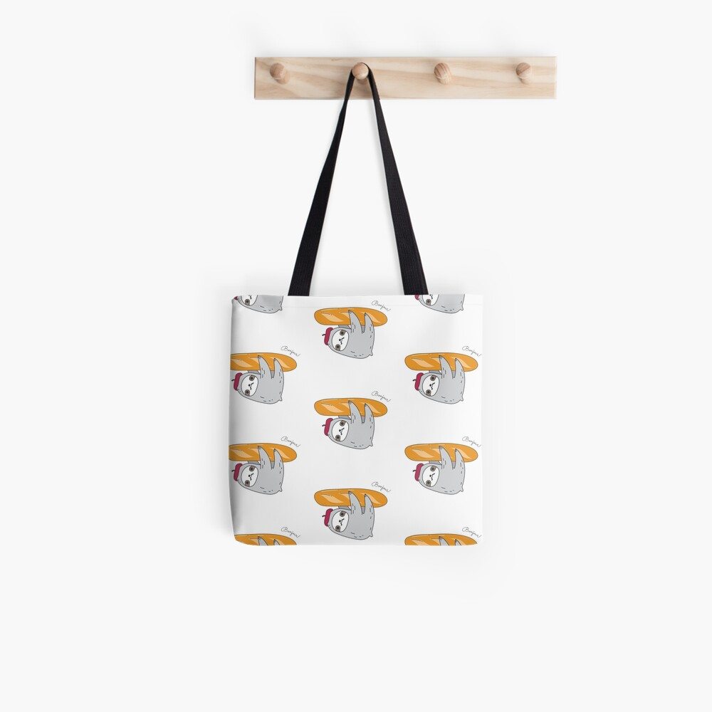 French sloth with baguette Tote Bag