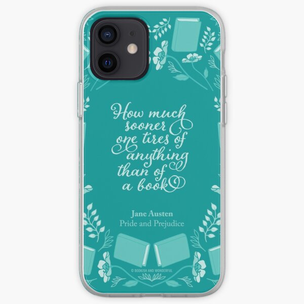 Jane Austen Pride and Prejudice Teal Floral Bookish Quote iPhone Soft Case