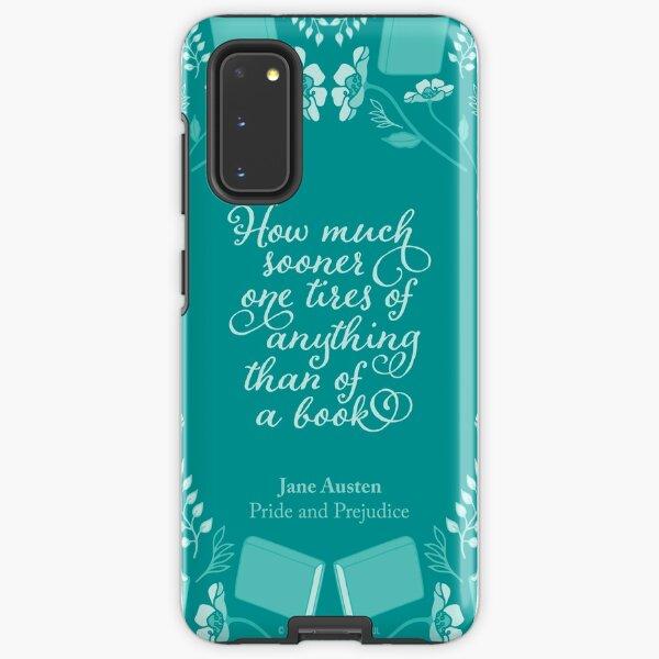 Jane Austen Pride and Prejudice Teal Floral Bookish Quote Samsung Galaxy Tough Case