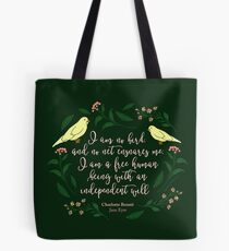 Green Floral Bird Quote Jane Eyre Charlotte Bronte Tote Bag