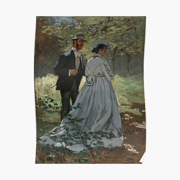 Claude Monet Bazille and Camille (Study for Déjeuner sur l'Herbe) 1865 Painting Poster