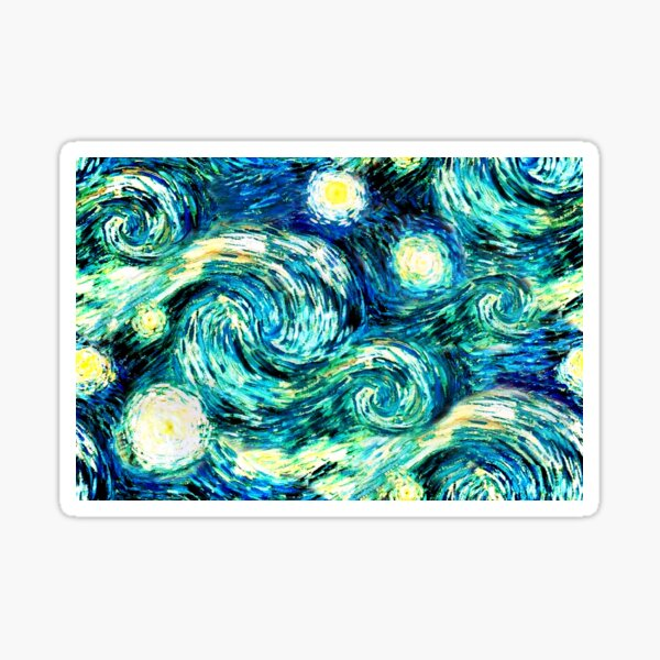Starry Night, Sky Only Painting, Inspired by Van Gogh Sticker