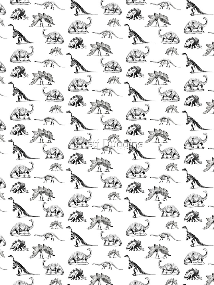Vintage Museum Dinosaurs   Black and White by BohoBear
