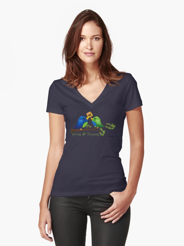Words & Friends Women's Fitted V-Neck T-Shirt Front