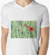 green wheat and red poppy flower Men's V-Neck T-Shirt