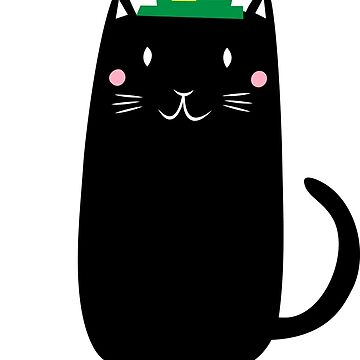 Black cat with shamrocks and leprechaun hat by MheaDesign