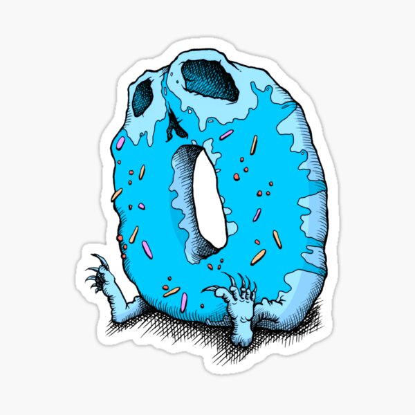 death by donut – blue Sticker