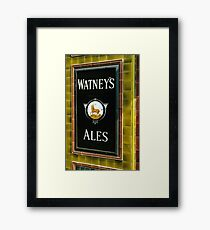 Watney's beer sign at Pub entrance, London, 1975, Framed Print