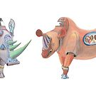 Mug – Mechanical Rhinos Crimson Pyramid Rams and Tyrian Raptor by AJLeibengeist