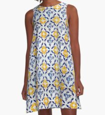 Portuguese Blue and yellows tiles  A-Line Dress