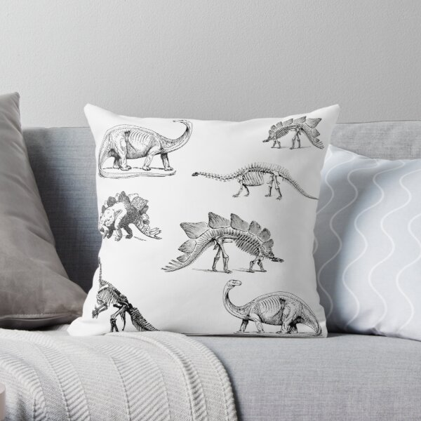 Vintage Museum Dinosaurs | Black and White Throw Pillow