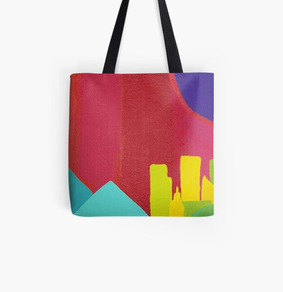 Purple Sun (Facemadics colorful abstract painting) All Over Print Tote Bag