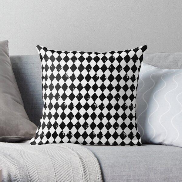 Grungy Black and White Harlequin Diamond  Throw Pillow