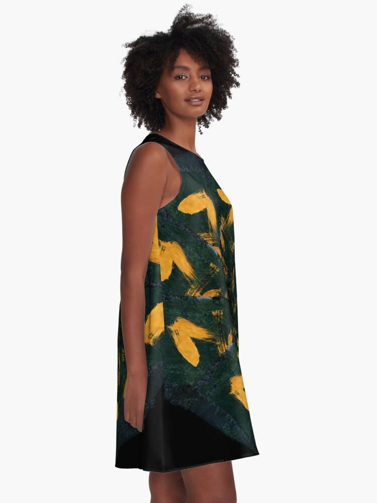 Alternative Ansicht von Coffee Mandala - 0005 - Stents A-Linien Kleid